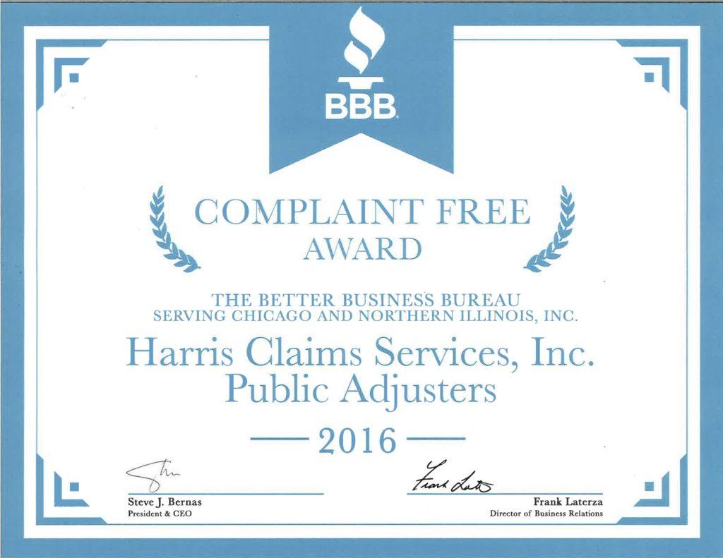 Harris Claims BBB Complaint Free Award